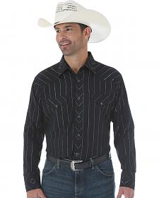 Wrangler Silver Edition Black Snap Shirt with Embroidery