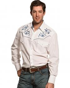 Ely Cattleman White Lurex Embroidered Western Shirt