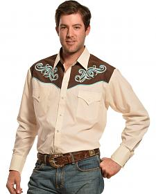 Ely Cattleman Cream and Brown Embroidered Yoke Western Shirt
