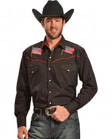 Ely Cattleman Men's Black American Flag Western Shirt