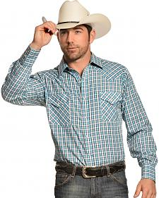 Ely Men's Turquoise Dobby Check Long Sleeve Western Shirt