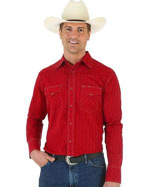 Wrangler Silver Edition Mitered Red Dobby Shirt