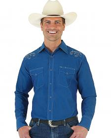 Wrangler Silver Edition Blue Shirt with Embroidered Yoke