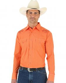 Wrangler Silver Edition Embroidered Yoke Orange Shirt