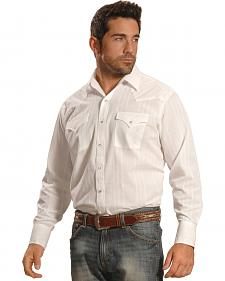Ely Cattleman Men's White Windowpane Snap Western Shirt
