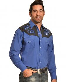 Ely Cattleman Men's Blue Lurex Embroidered Western Shirt