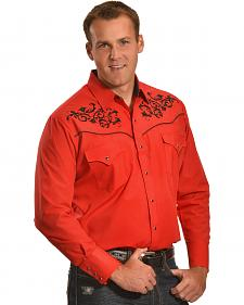 Ely Cattleman Men's Red and Black Embroidered Western Shirt
