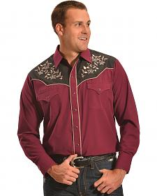 Ely Cattleman Men's Burgundy and Brown Embroidered Western Shirt
