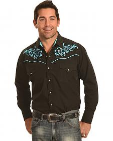 Ely Cattleman Men's Black and Turquoise Embroidered Western Shirt