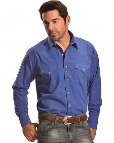 Ely Cattleman Men's Blue Western Snap Shirt