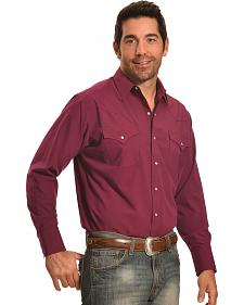 Ely Cattleman Men's Burgundy Western Snap Shirt