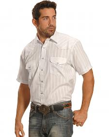 Crazy Cowboy Men's White Short Sleeve Lurex Snap Western Shirt