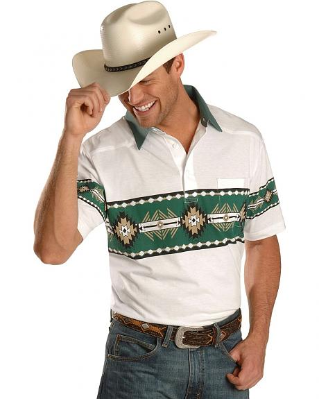 Exclusive Gibson Trading Co. Green Aztec Border Short Sleeve Shirt