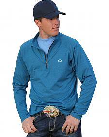 Cinch Men's Quarter-Zip Blue Fleece Work Shirt