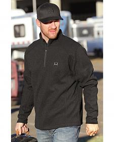 Cinch Men's Solid Black 1/4 Zip Fleece Pullover