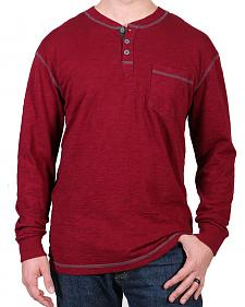 Moonshine Spirit Men's Maroon Solid Long Sleeve Henley