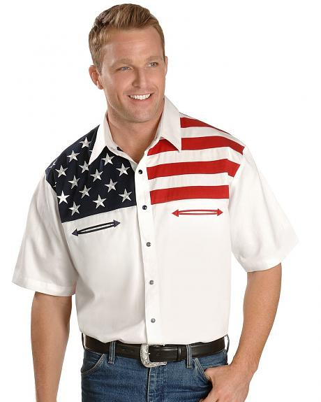 Scully American Flag Colorblock Western Shirt