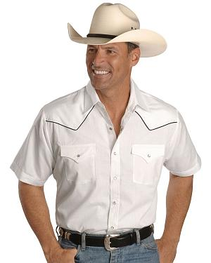 Ely Short Sleeve White Western Shirt
