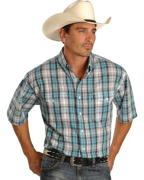 Roper Men's Short Sleeve Plaid Button Shirt