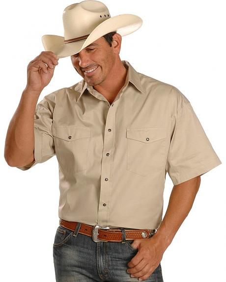 Exclusive Gibson Trading Co. Short Sleeve Solid Twill Snap Western Shirt