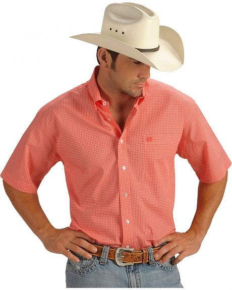 Cinch � Men's Square Print Short Sleeve Shirt