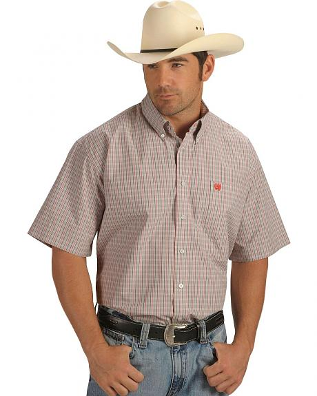 Cinch � Men's Grey and Coral Plaid Short Sleeve Shirt