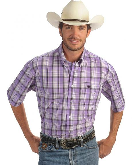 Cinch � White & Purple Plaid Short Sleeve Shirt