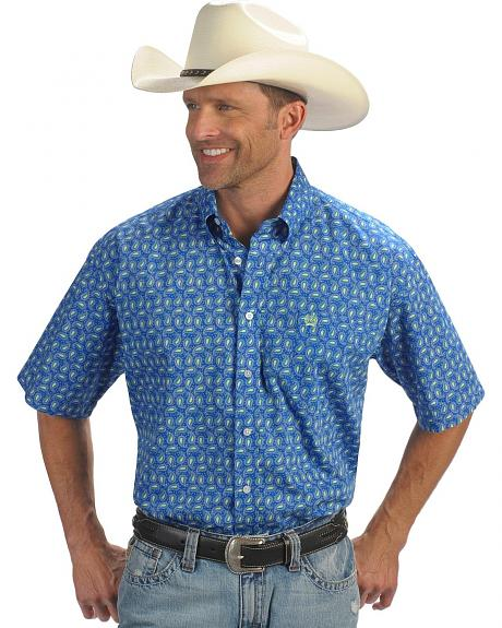 Cinch � Blue Paisley Print Short Sleeve Shirt