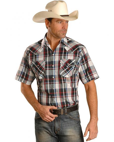 Ely Short Sleeve Light Red Plaid Western Shirt - Reg