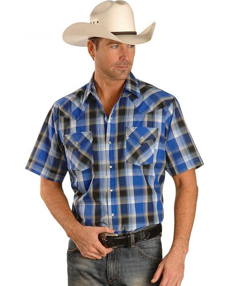 Ely Short Sleeve Dark Blue Plaid Western Shirt - Reg