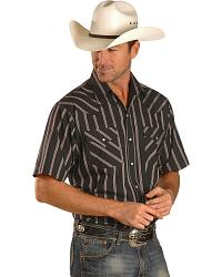 Ely Short Sleeve Black Striped Western Shirt - Reg at Sheplers