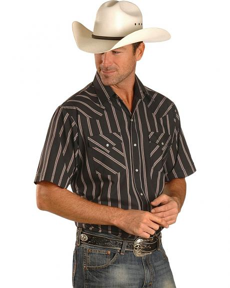 Ely Short Sleeve Black Striped Western Shirt - Reg