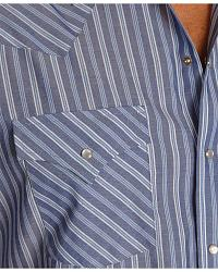 Ely Short Sleeve Blue Striped Western Shirt - Reg at Sheplers