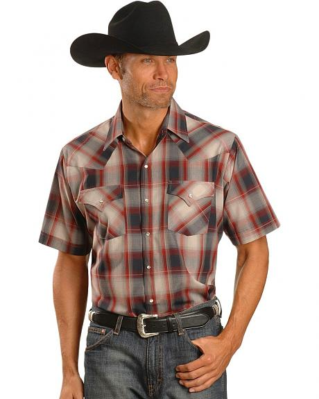 Ely Dark Rust Plaid Western Shirt