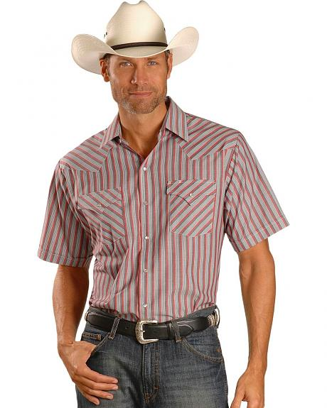 Ely Light Red Striped Western Shirt