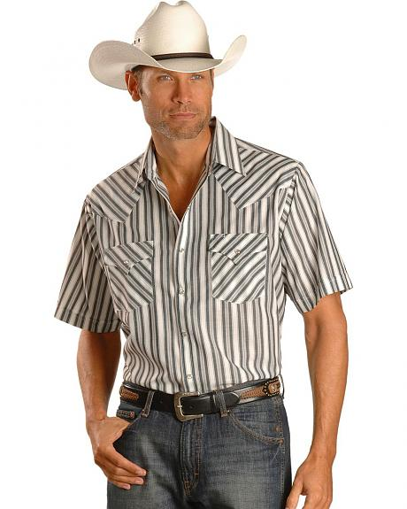 Ely Light Grey Striped Western Shirt