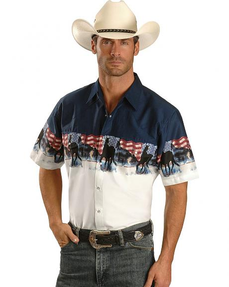 Cumberland Outfitters by Ely Patriotic Horse Border Western Shirt