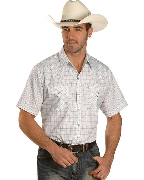 Ely White Dobby Check Western Shirt