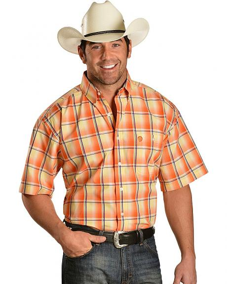 Wrangler George Strait Orange Plaid Shirt - Reg