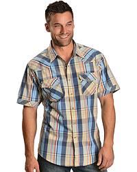 Wrangler 20X Orange & Blue Plaid Shirt at Sheplers