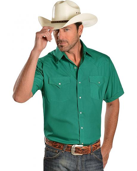 Ely Emerald Green Short Sleeve Western Shirt