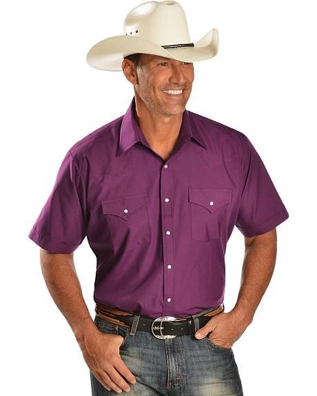 Ely Purple Short Sleeve Western Shirt