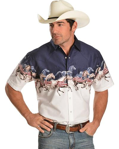 Cumberland Outfitters by Ely Horse & American Flag Border Shirt Western & Country 15225488NV-87