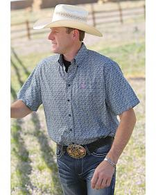 Cinch Short Sleeve Navy Print Western Shirt