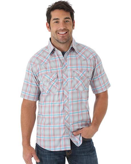 Wrangler 20X Grey and Teal Plaid Short Sleeve Shirt
