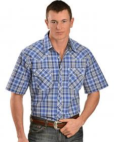Wrangler 20X Blue and Black Plaid Short Sleeve Shirt