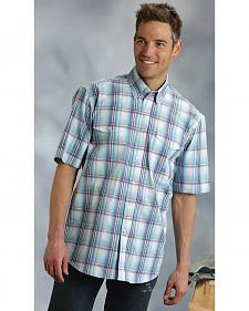 Roper Amarillo Collection Blue Plaid Short Sleeve Shirt