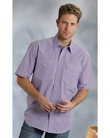 Roper Men's Amarillo Collection Purple Short Sleeve Shirt