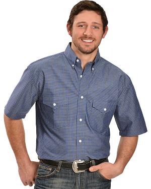 Gibson Blue and Grey Plaid Short Sleeve Western Shirt