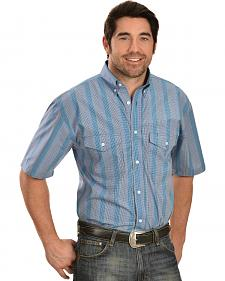 Gibson Blue Plaid Short Sleeve Western Shirt